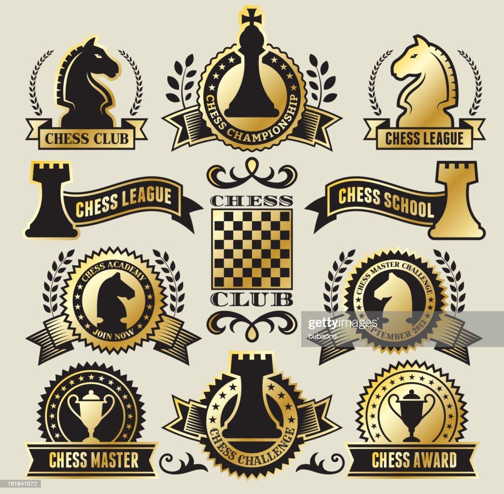Redondo de ajedrez tarjetas en negro y oro : Ilustración de stock