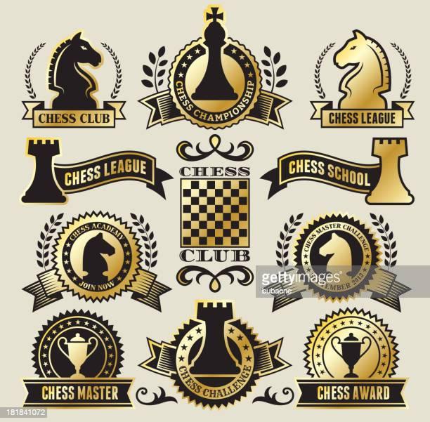 Redondo de ajedrez tarjetas en negro y oro