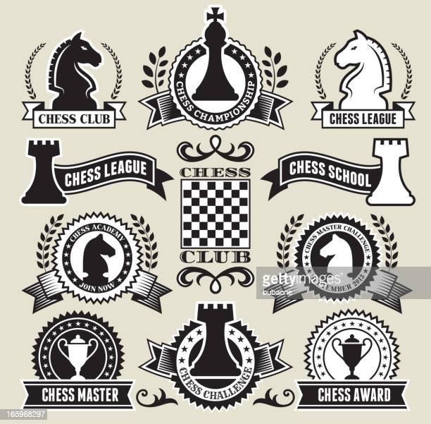 円形チェスバッジにブラックとホワイトの - チェス点のイラスト素材/クリップアート素材/マンガ素材/アイコン素材
