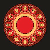 Round chinese calendar animals. Rat snake dragon pig rooster rabbit horse monkey dog tiger ox bull mouse, vector illustration. black and gold on a red background