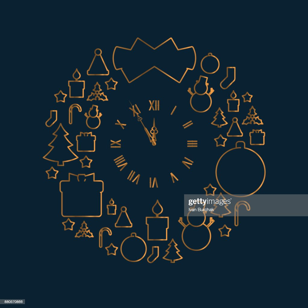 Round Christmas Wreath-Shaped Icon Pattern. Golden Line Icons Christmas Related in the Form of a New Year's Wreath. Gold Watch Icon in the Center