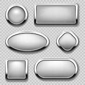 Round chrome button collection on transparent background. Vector metal buttons