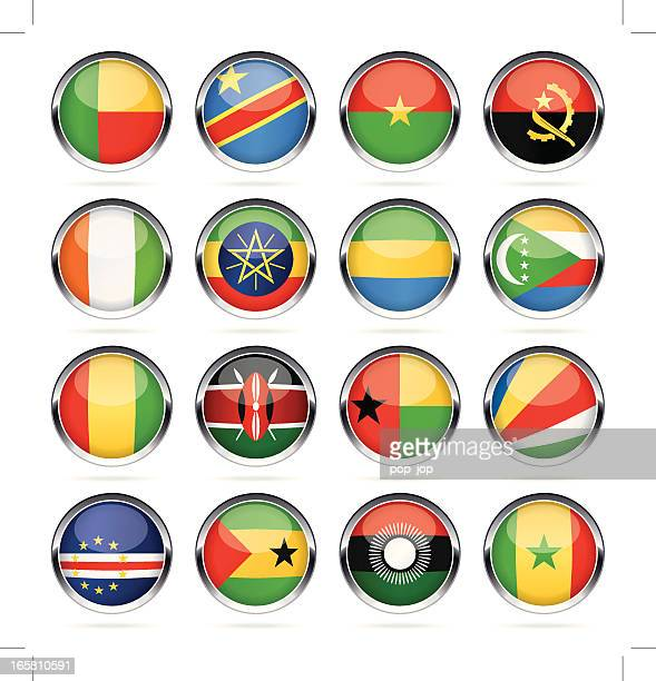 Runde Chrom Flag Icon-Kollektion – Südafrika
