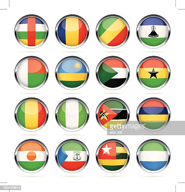 round chrome flag icon collection - africa - ghana flag stock illustrations, clip art, cartoons, & icons