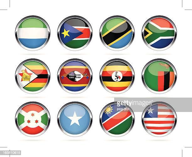 ilustrações, clipart, desenhos animados e ícones de rodada chrome bandeira coleção de ícones-áfrica - libéria