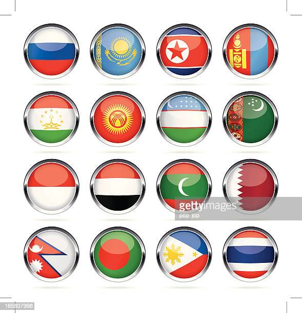 round chrome flag icon collection - asia - qatar stock illustrations, clip art, cartoons, & icons