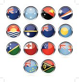 Round Chrome Flag Icon Collection - Australia and Oceania