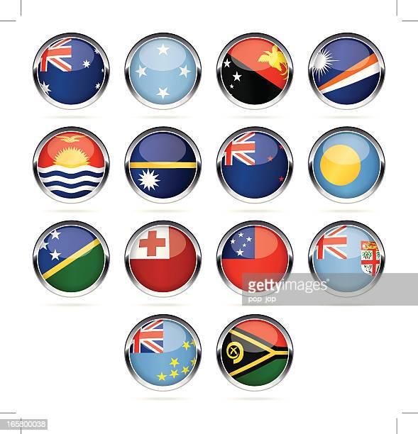 round chrome flag icon collection - australia and oceania - fiji stock illustrations