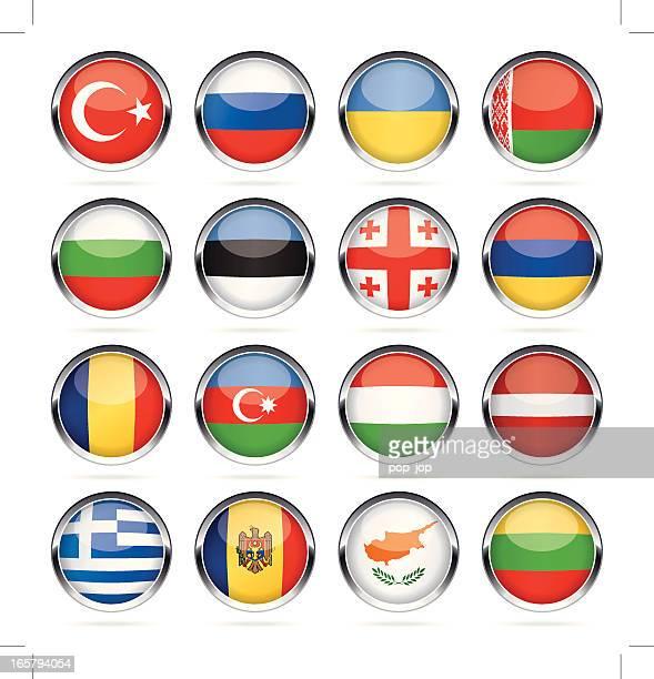 runde chrom flag icon-kollektion – osten und südeuropa - flagge von georgien stock-grafiken, -clipart, -cartoons und -symbole