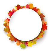 "Round color frame of autumn. Background with autumn maple leaves. The template for the ""nbanner or poster with red and yellow leaves. Stock vector illustration"