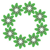 round decorative frame from green flowers