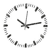 Round dial of analog clock. Sketch in vector