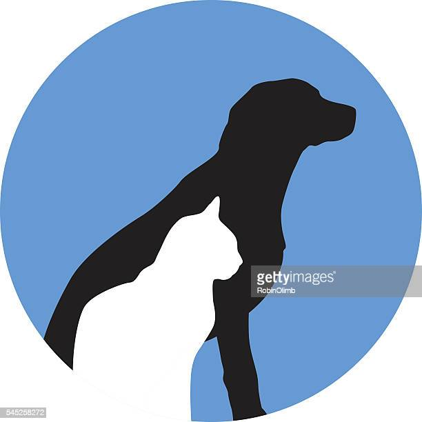 round dog and cat icon - golden retriever stock illustrations, clip art, cartoons, & icons
