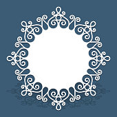 Round doily with cutout lace border pattern