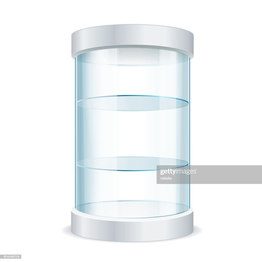 Round Empty Glass Showcase for Exhibit. Vector