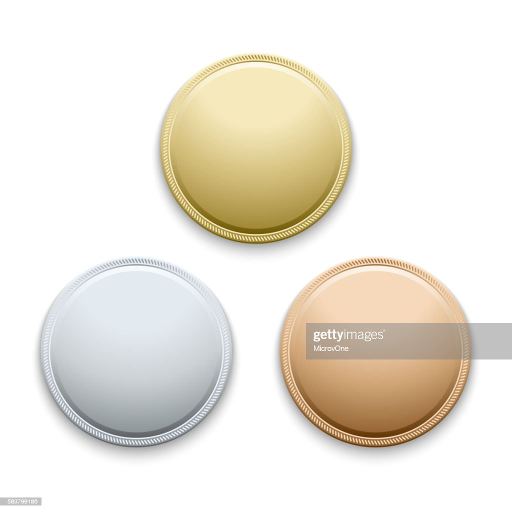 Round empty polished gold, silver, bronze, medals, coins vector template