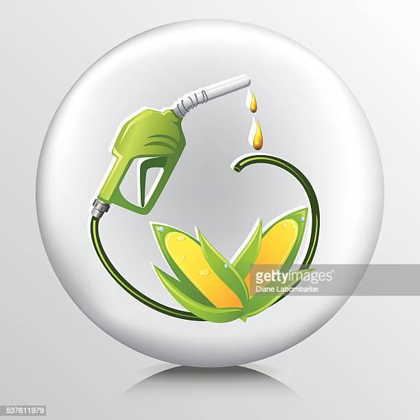 illustrations, cliparts, dessins animés et icônes de icône de l'environnement au biocarburant corn essence - fuel pump