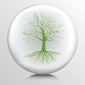 Round Environment Icon With Bare Tree And Roots