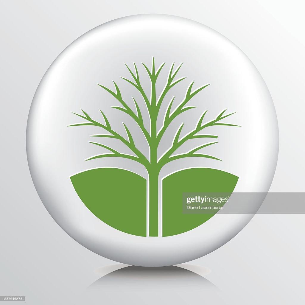 Runde Umweltsymbol Mit Kahler Baum Vektorgrafik | Getty Images