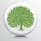 Round Environment Icon With Oak Tree Silhouette