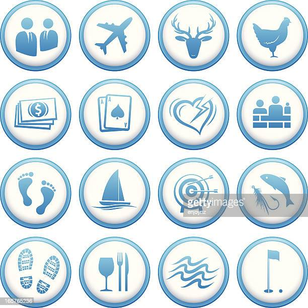 round events and hospitality icons - motorboating stock illustrations, clip art, cartoons, & icons