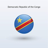 Round flag Democratic Republic of the Congo