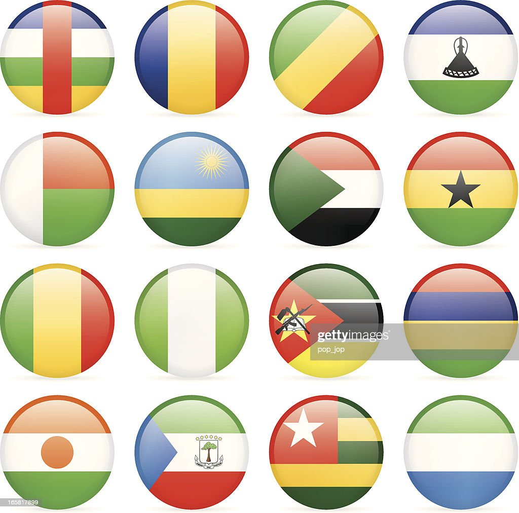 Round Flag Icon Collection - Africa : stock illustration