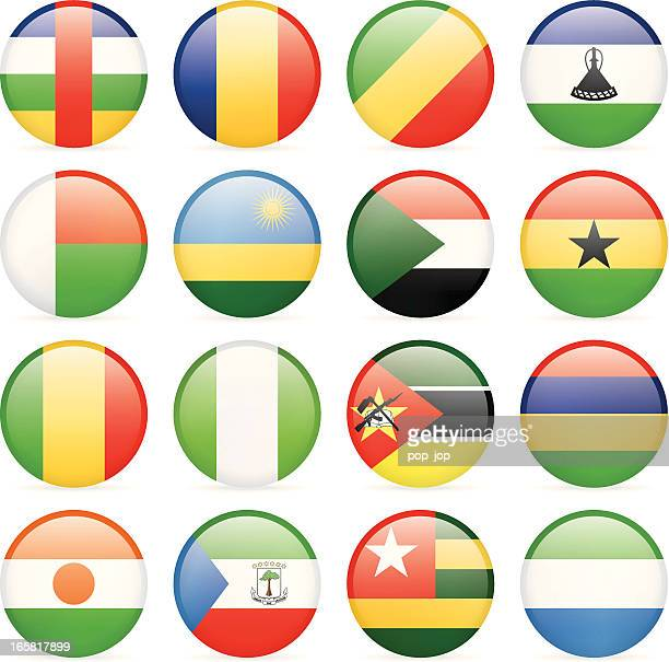 round flag icon collection - africa - ghana stock illustrations, clip art, cartoons, & icons