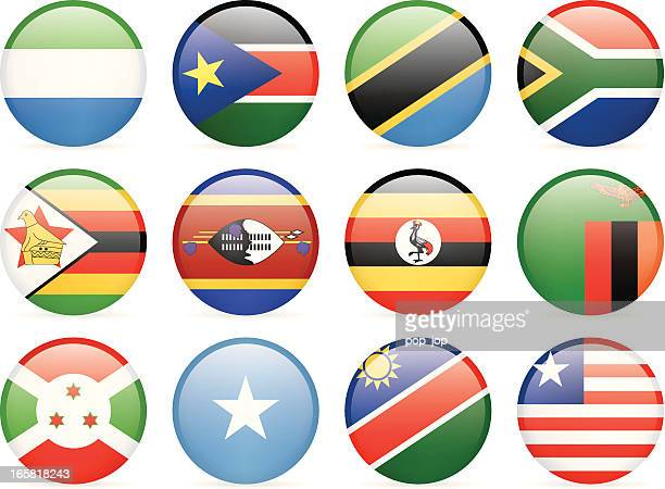 round flag icon collection - africa - uganda stock illustrations, clip art, cartoons, & icons
