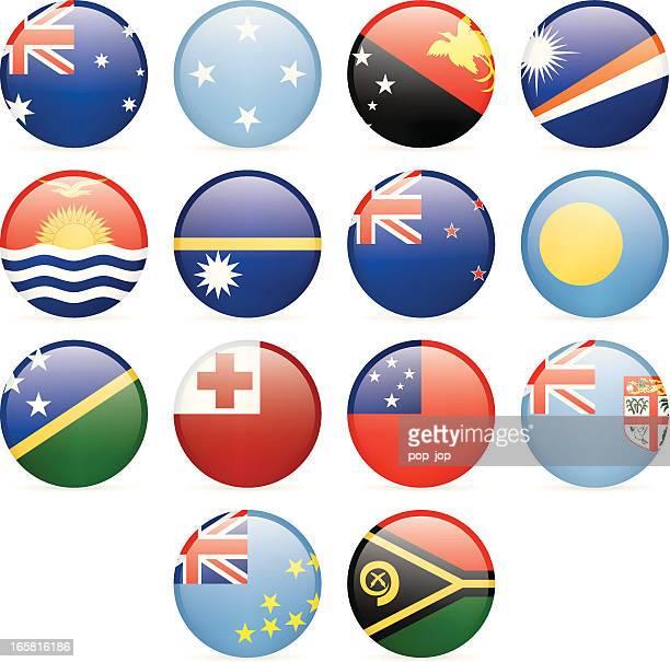 round flag icon collection - australia and oceania - samoa stock illustrations, clip art, cartoons, & icons