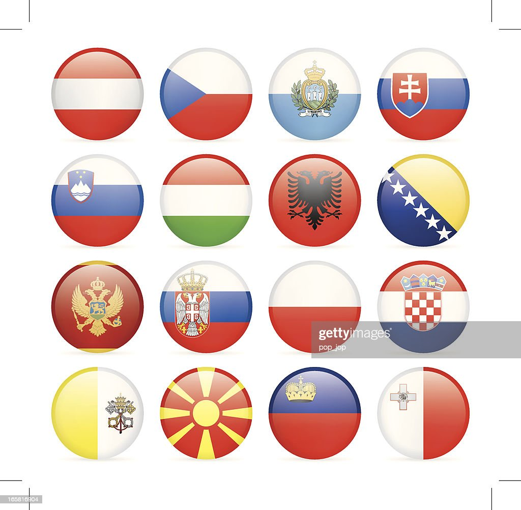 Round Flag Icon Collection - Central and Southern Europe : stock illustration