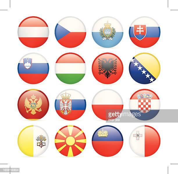 ilustrações, clipart, desenhos animados e ícones de o ícone de bandeira da coleção europa central e do sul - sérvia