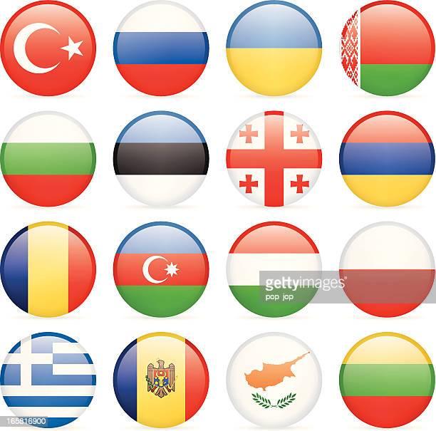 runde flag icon-kollektion – osten und südeuropa - flagge von georgien stock-grafiken, -clipart, -cartoons und -symbole
