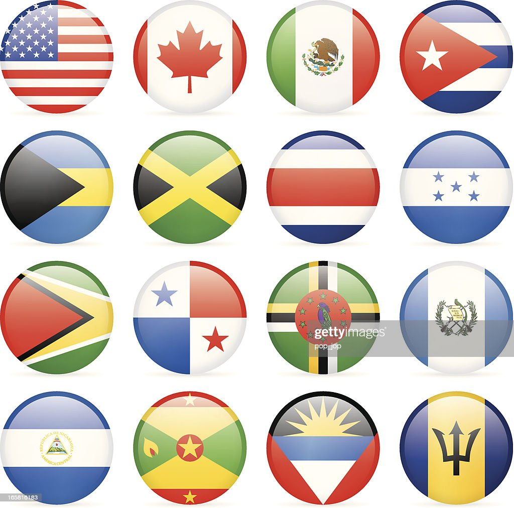 Round Flag Icon Collection North And Central America Vector Art - north flags