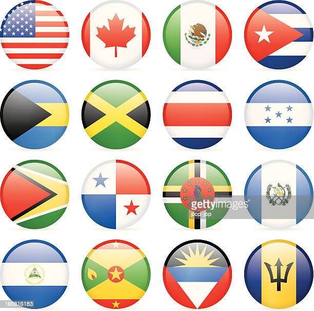 round flag icon collection - north and central america - cuban flag stock illustrations
