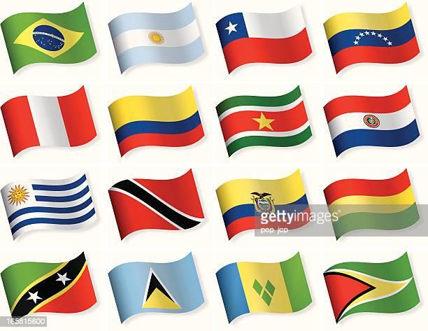 illustrazioni stock, clip art, cartoni animati e icone di tendenza di l'icona a bandiera collection-america centrale e meridionale - bandiera del cile