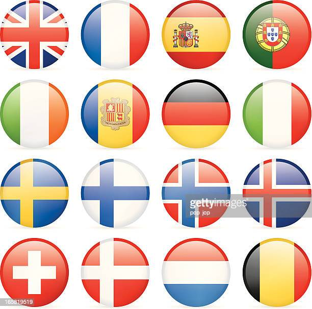 round flag icons - western and nothern europe - all european flags stock illustrations