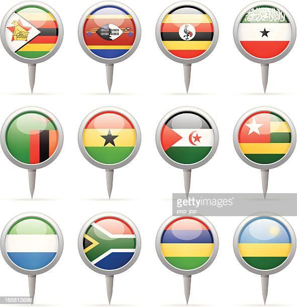 round flag pins - africa - zimbabwe stock illustrations, clip art, cartoons, & icons