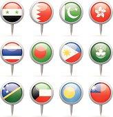 Round flag pins - Asia