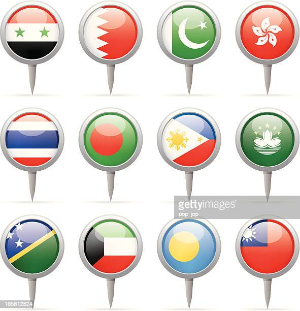 round flag pins - asia - macao stock illustrations