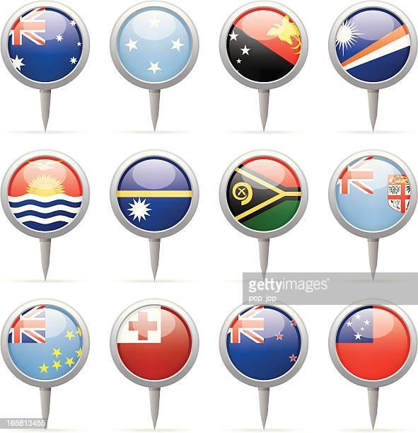 round flag pins - australia and oceania - tuvalu stock illustrations, clip art, cartoons, & icons
