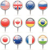 Round flag pins - most popular
