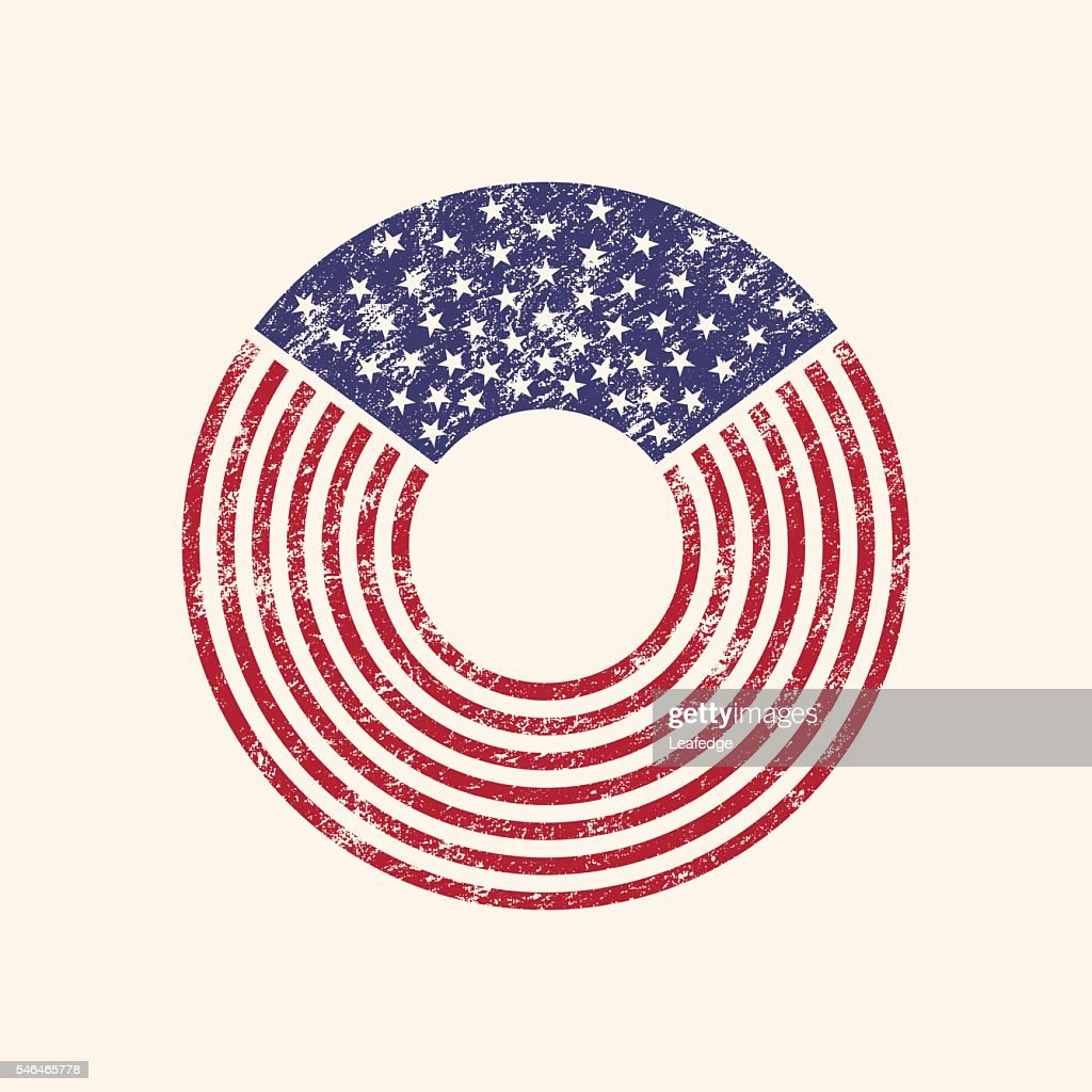 USA Round flag