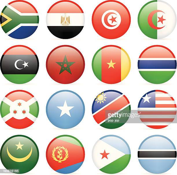 Round flags of African countries icon collection