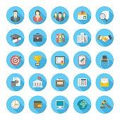 Round Flat Business Resume Icons