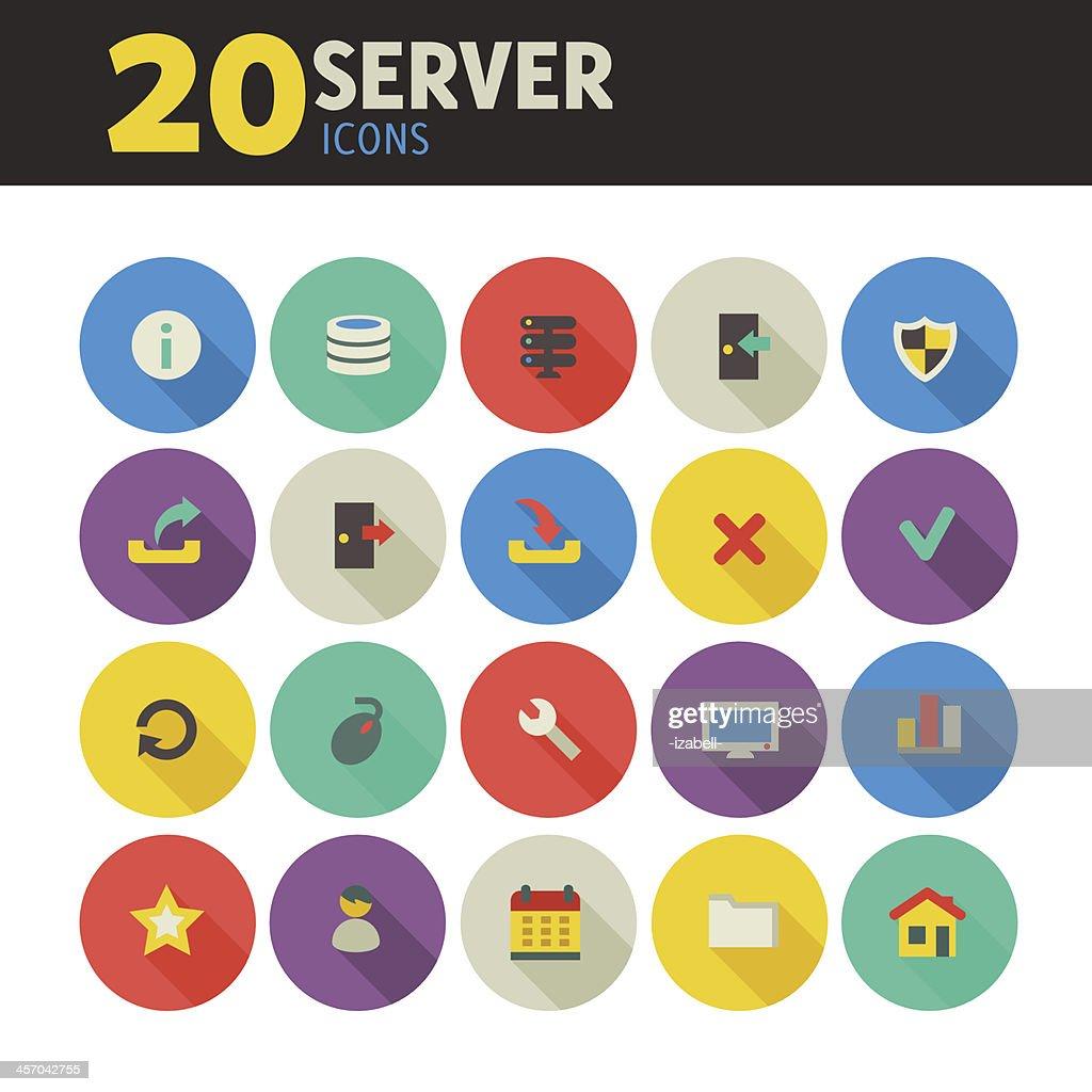 Round flat server icons