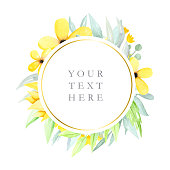 Round floral frame with watercolor flowers and leaves, yellow watercolor flowers, logos, illustration hand drawn