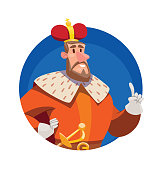 Round frame, funny big king with brown hair and beard