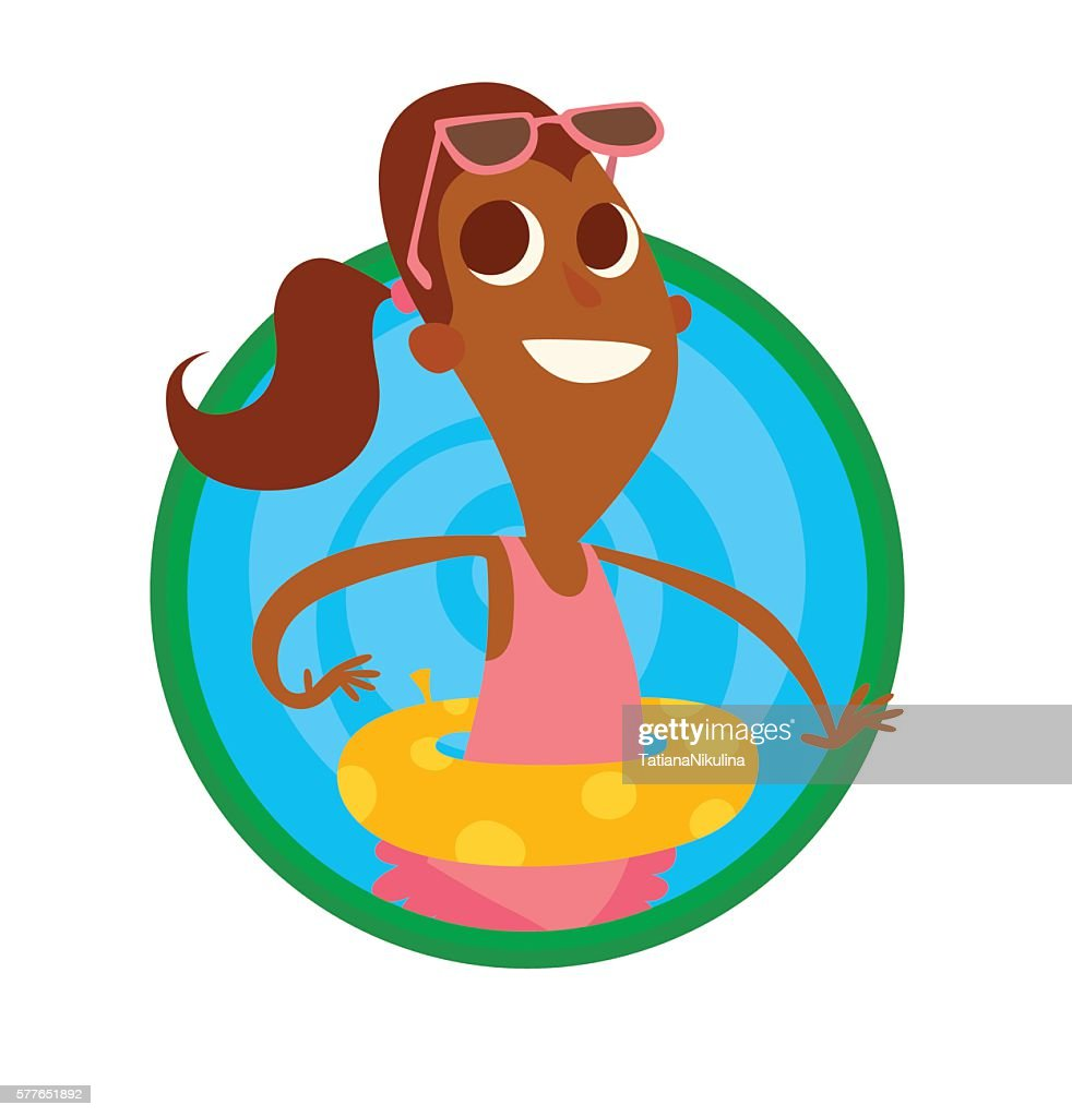 Round frame, funny black girl with yellow rubber ring
