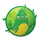 Round frame, funny fantasy plump little tropical green-yellow bi